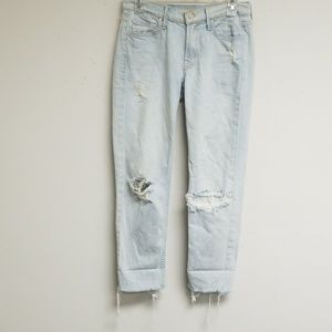 Mother Light Blue Long Ripped Jean's Size 24